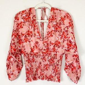 NWT WAYF Floral Dolman Sleeve Smocked Waist